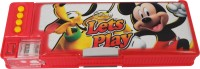 Disney Mickey Cartoon Art Plastic Pencil Box (Set Of 1, Orange, Yellow)