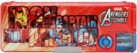 Marvel Avengers Cartoon Art Magnetic Pencil Box (Set Of 1, Red, Blue)