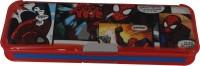 Disney Spiderman Superhero Art Plastic Pencil Box (Set Of 1, Red, Blue)