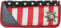 Aardee Compass Red Stripes Design Art Thick Fabric Pencil Box (Set Of 1, Multicolor)
