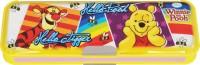 Disney Pooh Cartoon Art Plastic Pencil Box (Set Of 1, Yellow, Violet)