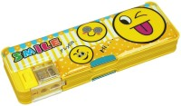 Ollington St. Collection Cartoon Smilie Art Plastic Pencil Box (Set Of 1, Yellow)