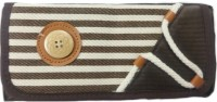 Aardee Stripes Design Art Thick Fabric Pencil Box (Set Of 1, Brown)