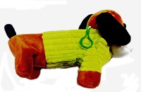 Palakz Doggy Style Pouch Art Plush Pencil Box (Set Of 1, Green)
