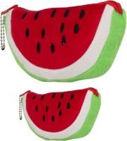 FabSeasons Fashion Fruit Art Faux Fur Pencil Boxes (Set Of 2, Green, Red)