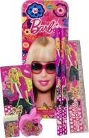 Gayatri Creations BARBIE 1 PENCIL BOX, 1 NOTE PAD, 2 PENCILS, 1 RULER, 1 SHARPENER, 1 ERASER Art PLASTIC Pencil Box (Set Of 6, PINK, MULTI)