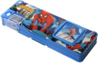 RSI Spiderman Multiple Charachters Art Metal & Plastic Pencil Box (Set Of 1, Blue, Pink, Red, Green)