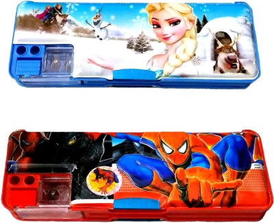 FCS Geometry & Pencil Boxes FCS Magnetic with Double Sided Gift Cartoon Art Plastic Pencil Boxes