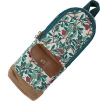 Www.thepaper.asia Floral Floral Art Canvas Leather Pencil Box (Set Of 1, White, Green)