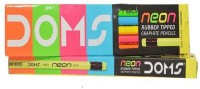 DOMS NEON RUBBER TIPPED Round Shaped Pencils (Set Of 10, Fluroscent Colors)