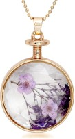 Urthn Gold Finish Round Finish Purple Dried Flower Transparent Glass - 1202426 Alloy Pendant