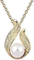 Silver Shoppee Spread The Love Yellow Gold Crystal, Cubic Zirconia, Pearl Metal Pendant