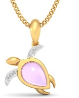 BlueStone Snorkelling Tortoise For Kids 18kt Diamond, Amethyst Yellow Gold Pendant