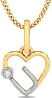 BlueStone The Love For You 18K Yellow Gold Plated 18K Diamond Yellow Gold Pendant