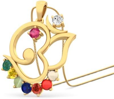 WearYourShine By PCJ The Ganesha Taj 18K Diamond, Ruby, Emerald, Sapphire, Coral, Garnet, Cat's Eye Gold Pendant