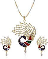 Bandish American Diamond Peacock Design With Chain 18K Rose Gold Cubic Zirconia Alloy Pendant Set