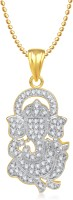 Meenaz Meenaz Vishwaraja Ganesh Pendant Gold &White NA Plated Alloy Pendant