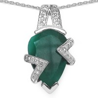 Johareez 5.20CTW 15x10mm Pear Shape Dyed Emerald .925 Sterling Silver Solitaire Pendant Rhodium Emerald Sterling Silver Pendant
