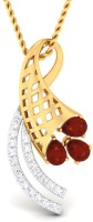 WearYourShine By PC Jewellers The Husnesha 18kt Diamond, Ruby Yellow Gold Pendant