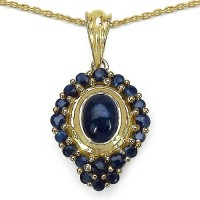 Johareez 3.07CTW Genuine Blue Sapphire 14K Yellow Gold Plated .925 Sterling Silver Pendant Yellow Gold Sapphire Sterling Silver Pendant