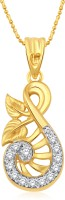 Classic Gold Leaf CZ Gold & Rhodium Plated Pendant For Women [CJ1153PG] Yellow Gold 18K Cubic Zirconia Alloy