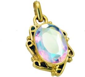 Riyo Fascinating Dichroic Glass Pendant Yellow Gold Cubic Zirconia Copper Pendant
