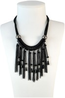 Sarah Faux Beads & Tassels Choker Necklace For Women - Black NAK Metal Pendant