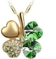 Eterno Fashions Gold Plated Green Austrian Crystal Pendant For Women Rhodium Plated Crystal Alloy Pendant
