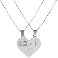 Men Style Miss U Couple 304 Stainless Steel Pendant With 2 Chain Stainless Steel Pendant Set
