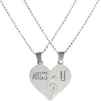 Men Style Miss U Couple 304 Stainless Steel Pendant With 2 Chain Stainless Steel Pendant Set