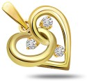 Surat Diamond Perfect Style Heart Yellow Gold 18K Yellow Gold Plated Pendant