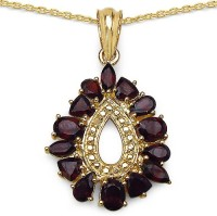 Johareez 4.50CTW Genuine Garnet 14K Yellow Gold Plated .925 Sterling Silver Pendant Yellow Gold Garnet Sterling Silver Pendant