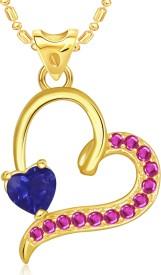 VK Jewels Affection Heart Valentine 18K Yellow Gold Cubic Zirconia Alloy Pendant