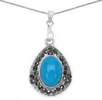 Johareez Fashion 5.20 Grams Turquoise Onyx & Marcasite Pendant Onyx Alloy Pendant