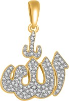 Ciemme Islamic Allah Religious 18K Yellow Gold Plated Cubic Zirconia Sterling Silver Pendant