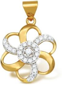 Ishtaa 18k Hallmarked Charm Cubic Zirconia Yellow Gold Pendant