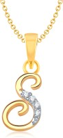 VK Jewels Initial Letter S 18K Yellow Gold Plated Cubic Zirconia Alloy Pendant