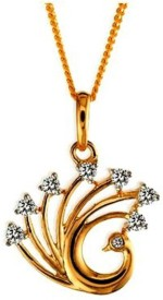 Gunjan Diamond Peacock 18K Yellow Gold, Rhodium 18K Diamond Gold Locket