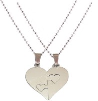 Men Style Couple His And Her Plain Heart Shape Necklaces Gift Stainless Steel Pendant Set