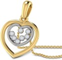 CaratLane Heart In Heart Gold 18K White Gold, 18K Yellow Gold Plated Pendant