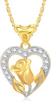 VK Jewels Rose In Heart 18K Yellow Gold Plated Cubic Zirconia Alloy Pendant