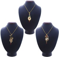 Being Women Peacock Design Combo Yellow Gold Alloy Pendant Set