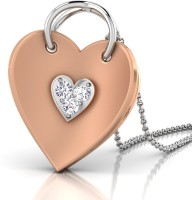 CaratStyle Pave Heart 18K Diamond Rose Gold, White Gold Pendant