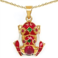 Johareez 6.80 Grams Red Synthetic Stone & Ruby Gold Plated .925 Sterling Silver Red, White & Green Enamel Frog Shape Pendant Yellow Gold Plated Sterling Silver Pendant