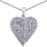 Johareez 2.65CTW Genuine Tanzanite .925 Sterling Silver Heart Pendant Rhodium Tanzanite Sterling Silver Pendant