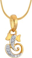 Myzevar Ganesha 18K Yellow Gold Plated Cubic Zirconia Sterling Silver Pendant