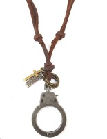 Ammvi Creations Handcuff Locket Adjustable For Men Leather Pendant