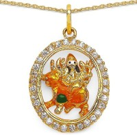 Johareez Fashion 6.10 Grams White Cubic Zirconia Yellow, Green, White & Black Enamel Gold Plated Brass Maa Durga Shape Pendant Yellow Gold Cubic Zirconia Brass Pendant