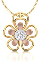 CaratStyle Jasmine Flora 18K Diamond Yellow Gold, Rose Gold Pendant