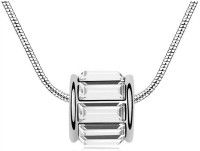 Eterno Exquisite Austrian Baguette Crystal Studded Pendant With Chain - White Rhodium Crystal Alloy Pendant